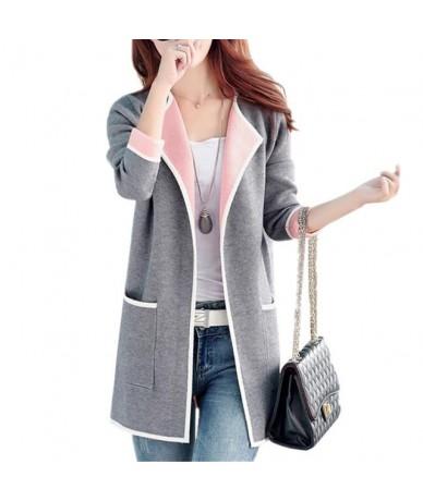Large size Women Sweater New Spring Autumn Women knitting Cardigan Sweater Long Women Casual Gray Knit Sweaters RE0318 - Gra...