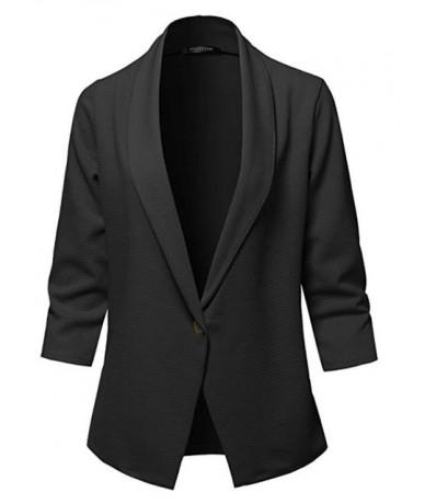 2019 Autumn new long-sleeved solid color lapel small suit jacket women's jacket vadim famale jaket Blazer - Black - 53111142...