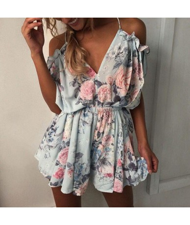 New Elegant Rompers Womens Jumpsuit Short Sexy Ruffles Off Shoulder Striped Print Fashion Plus Size Ladies Vintage Clothing ...