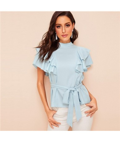 Blue Mock-neck Layered Ruffle Armhole Belted Blouse Women 2019 Summer Elegant Ladies Blouse Solid Slim Fit Blouses - Blue - ...