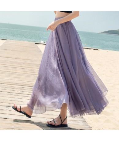 5 Solid Color Long Skirt Summer Beach Boho Skirt Black Gray Green Blue Red Purple Yellow Pink White Women Skirt - Purple - 4...