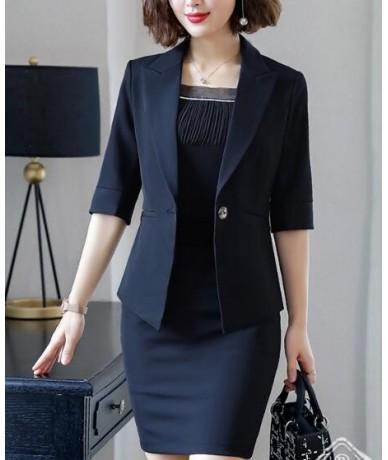 Summer business Elegant women skirt suit formal plus size V Neck Half sleeve Blazers with skirt office ladies Work uniforms ...