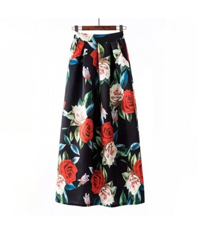 Striped Floral Print Skirt Women 2019 Spring Summer Big Large Long Maxi Plus Size High Waist Pleated Skirt Female - 3 - 4Z30...