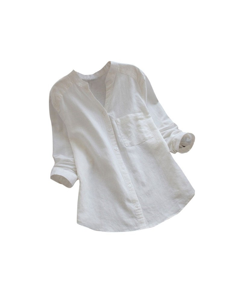 2019 Fashion Women's Loose Shirt Long Sleeve Solid Buttons Blouse Cotton linen Work OL Casual Lapel Top blusas mujer de moda...