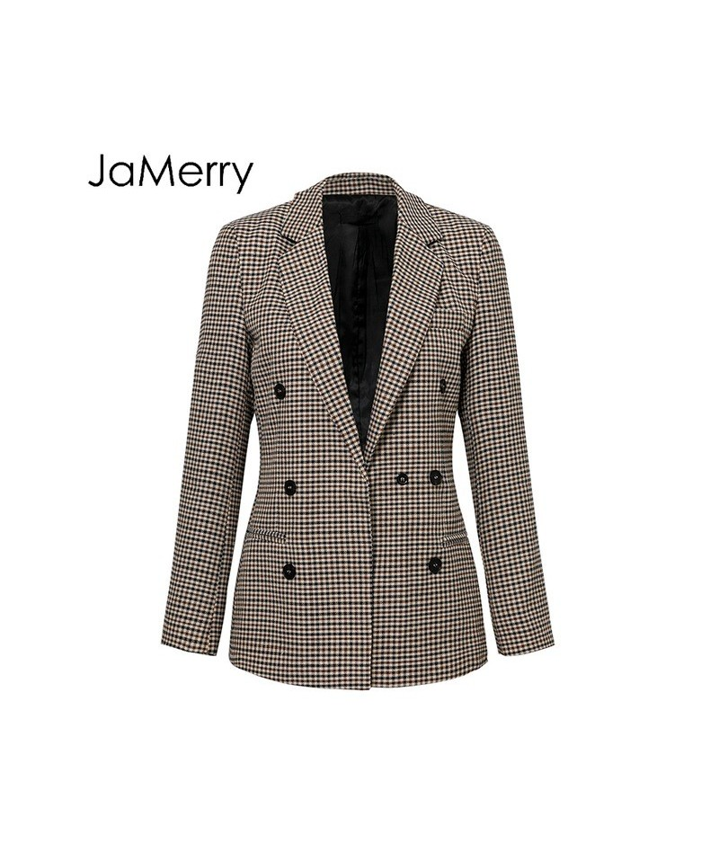 Fashion double breasted plaid blazer femme Long sleeve office jacket blazer feminino Casual spring autumn blazer female - Kh...