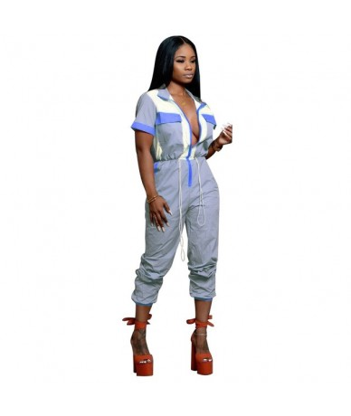 Sexy Jumpsuits for Women 2019 Summer Outfit Fashion Short Sleeve Zipper Pockets Romper Cargo Pants Overalls D35-AE86 - Blue ...