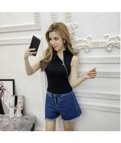 Girls Fashion Sheath Chic Zipper Slim Sleeveless T shirts Tanks Camis Top Ladies Striped Tops For Women - Black - 4O39598628...