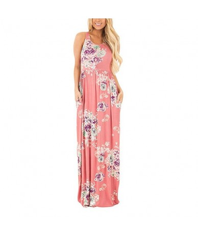 Boho Floral Printed Sundress O -Neck Summer Sexy Pleated Maxi Dress 2018 Casual Beachwear Femininos Dress Plus Size Lx328 - ...