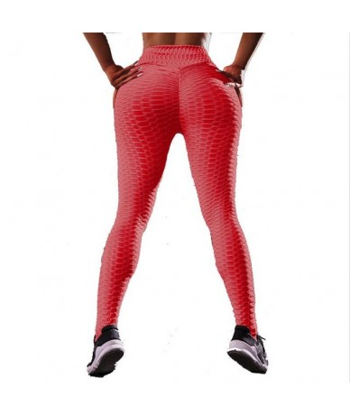 Women Fashion Fluorescent Green Wrinkles Push Up Leggings Fitness Slim High Elastic Wicking Dry Quick Legging Pants - Red - ...