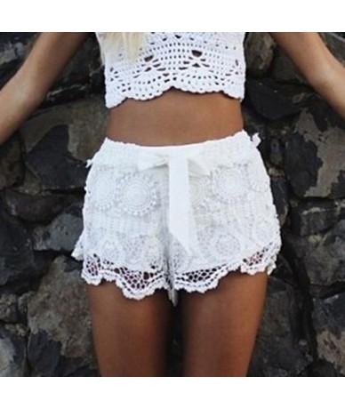 Women shorts Summer Elastic Waist Lace Crochet Beach Mini Shorts Hot shorts Daily Casual shorts denim color dropship j23 - W...