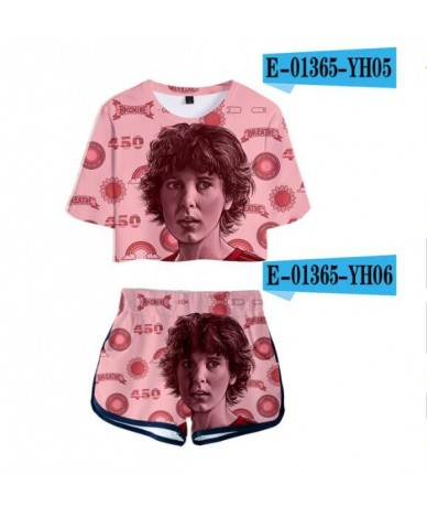Summer Women's Sets Stranger Things 3 3D Printed Short Sleeve Crop Top + Shorts Sweat Suits Women Tracksuits Two Piece Outfi...