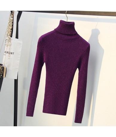 High Elasticity Shiny Lurex Women Turtleneck Sweater Long Sleeve Knitted Warm Top Autumn Winter Female Jumper - purple - 4M4...