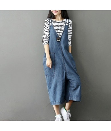 Mori Girl Spring Autumn Women Denim Jumpsuits Casual Loose High Waist Wide Leg Ankle-Length Jeans Solid Washed Female Overal...