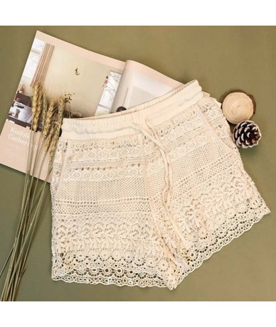 2019 Women White Lace Shorts Summer Beach Sexy Shorts Casual Drawstring High Waist Bottoms Patchwork Shorts Plus Size 7 - Wh...