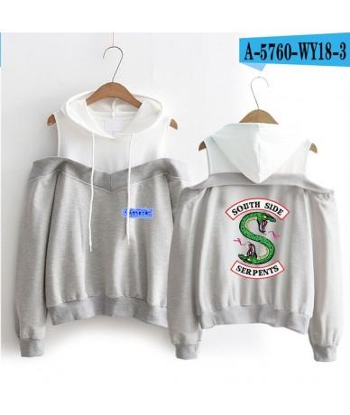 Riverdale Fashion Hoodies Women Long Sleeve Off-Shoulder Hooded Sweatshirts Popular TV series Streetwear Clothes - gray - 4N...