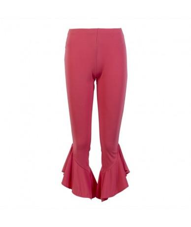 New Fashion Women Bell Bottom Wide Leg Flare Pants Stretch High Waist Skinny Boho Pants - Pink - 4S3010696880-2