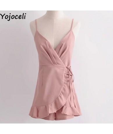 Short ruffle pink strap women playsuit Wrap summer beach elegant jumpsuit romper 2018 summer female overalls - Pink - 328647...