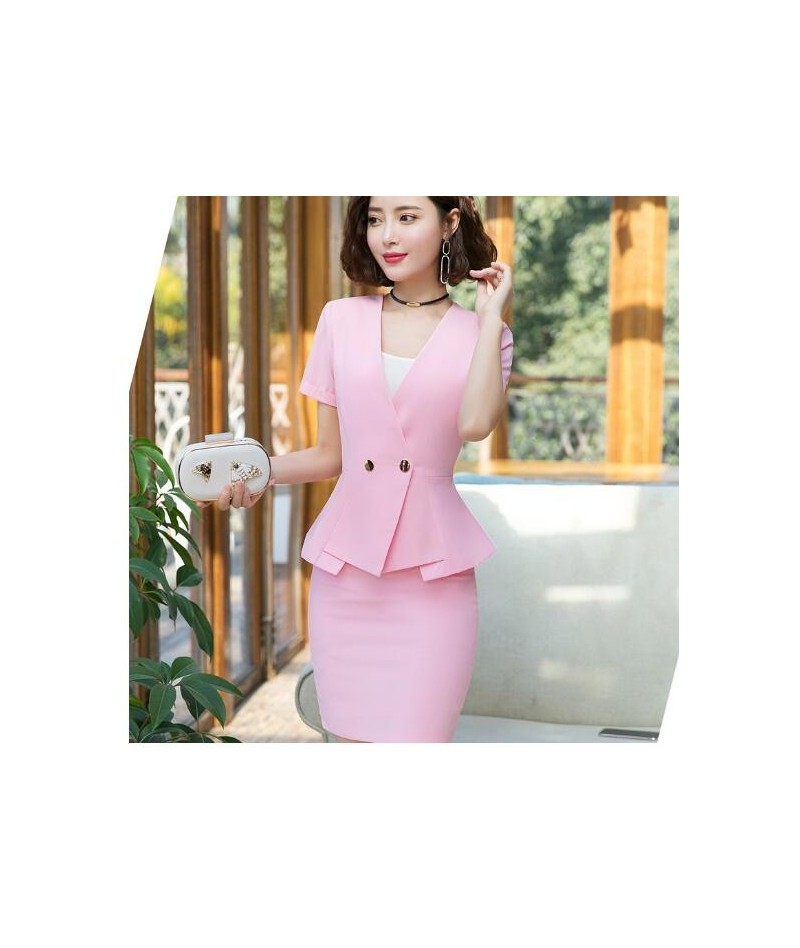 2019 new summer short-sleeve skirt suits two pieces set fashion slimming hotel uniform jewelry store beautician overalls - p...