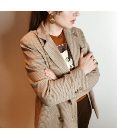 Vintage Plaid Double Breasted Women Jacket Blazer High Quality Soft fabric Female Suits Coat Fashion blazer Feminino - pictu...