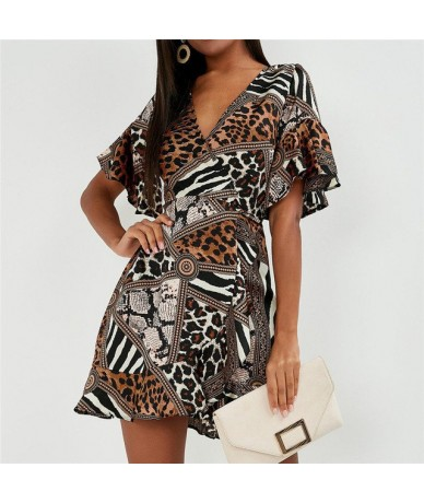 Summer Chiffon Dress Women Sexy V Neck Party Mini Dress Print Butterfly Short Sleeve Streetwear Sundress Fashion Robe Femme ...