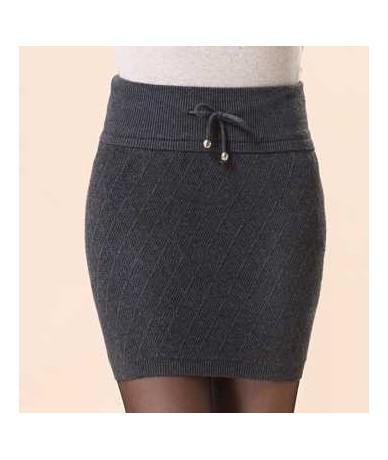 slim hip short skirt basic step skirt elastic cashmere skirt bust skirt - dark gray - 493563324964-2