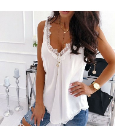 2019 Women Fashion Summer Casual Loose Camisole Tank Tops Lace Vest Sleeveless Tops Black White - White - 484156860790-2