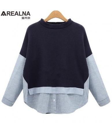 Autumn sweatshirt women Style Striped Patchwork Navy Pullover Loose Casual hoodies for women Plus Size XL-5XL - Navy - 4Z393...