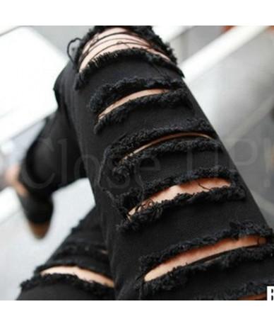 Ripped Jeans for Women 2019 Jeans Woman Torn Distressed Jeans Womens Street Wear Jean Femme Trouser Black White 26 XS 32 - B...