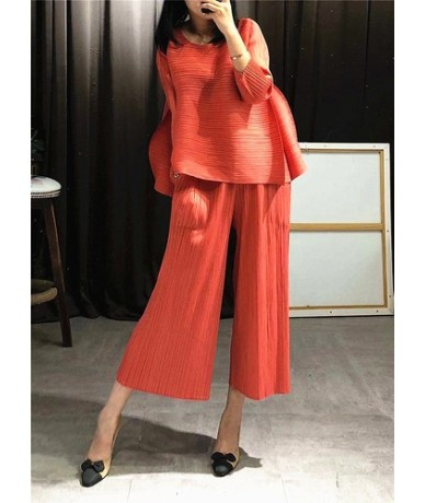 2019 Summer New Women's Sets Loose Pluz Size Tops Female Europe Fashion Casual Wild Pants Two Pieces Female - orange - 42300...