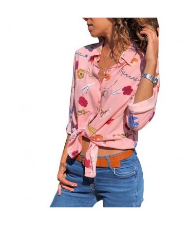 Fashion Flower Printed V-Neck Long Sleeve Women Autumn Top Shirt Thin Blouse - Pink - 4M3031261685-5