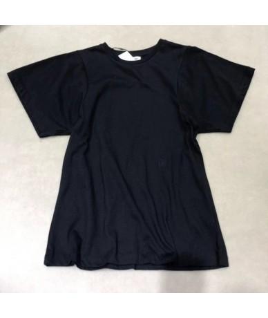 Women T-shirt 2019 Spring Cotton Pullover Round Neck Slim Women's T-shirt - Black - 5O111102012215-2