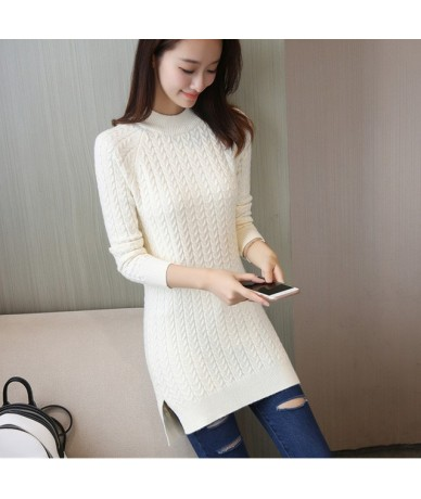 New Fashion 2019 Women Autumn Winter Embroidery Long Sweater Pullovers Casual Warm Female Knitted Sweaters Pullover Lady - B...