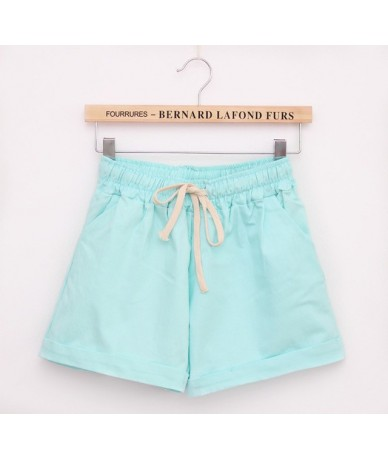 2015 Summer Style Shorts Candy Color Elastic With Belt Short Women SH222 - Skyblue - 4H3510313739-3