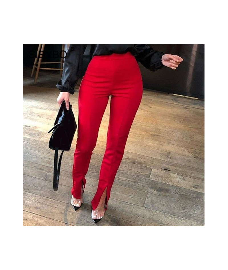 High Waist Split Summer Pants Women Fashion Elastic Waist Sexy Pencil Pants Solid Casual Women Trousers 2019 - Red - 4941286...