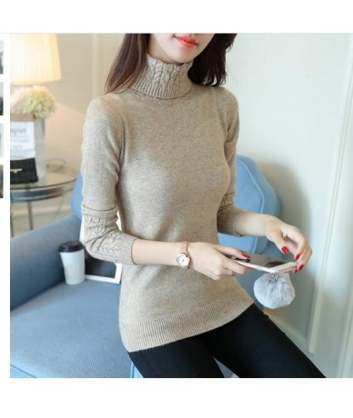 Autumn 2019 Women Sweaters Pullovers Knitted Turtleneck Sweater Poncho Female Tops Pull Femme White Beige Green Black Gray B...