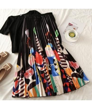2019 High Waist Midi Skirt Women Print Novelty Fashion Pleated Skirt Elastic Summer Autumn Skirt Casual Daily Wear LS-9831 -...