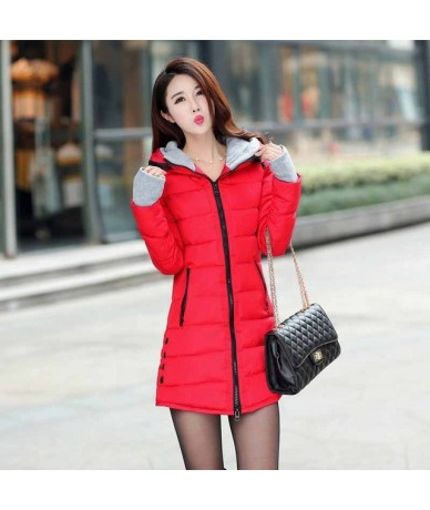 Women Thick Hooded Parkas Warm Winter Jacket Women Solid Coat Female Parka outwear cotton padded coats abrigo mujer - Red - ...
