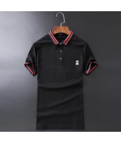 High Novelty 2019 unisex Hot drilling leather embroidery Fashion Polo Shirts Shirt Hip Hop Skateboard Cotton Polo Top Tee EE...