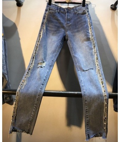 European 2019 New Side Heavy Drill-fringed Chain High Waist Jeans Pants Women's Hole Skinny Denim Pants Stretch Pencil Trous...