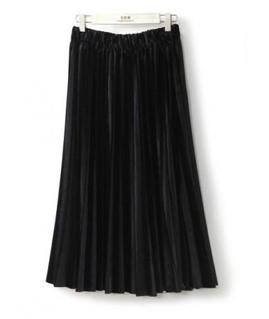 Women Long Metallic Silver Maxi Pleated Skirt Midi Skirt High Waist Elascity Casual Party Skirt - Black - 4R3886188538-1
