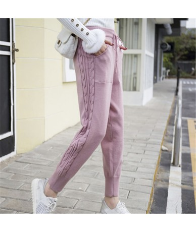 Winter Lace-up Elastic Women Trousers Side Twist Loose Pants Warm Thicken Stretchable Knitted Pantalones Mujer 5 Colors 2018...
