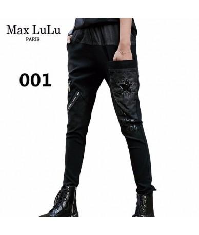 Luxury Brand Elastic Womens Punk Ripped Jeans Black Embroidery Ladies Skinny Casual Vintage Denim Harem Pants Plus Size - 00...