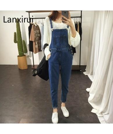 2018 Summer Style Bib Overalls For Women Washed Wear Scar Personality Big Pocket Scratched Dark Blue Denim Overalls Jeanforw...