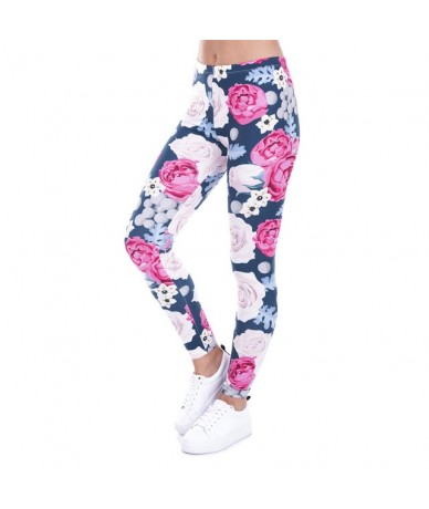 Brand Autumn Women Leggings Charming Wild Roses Printing Legging Casual Leggins Slim fit Leggings Womens Pants - lga43480 - ...