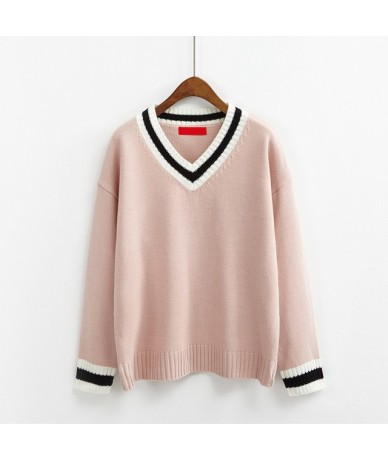Korean Institute Wind All-match Knitted Sweater Women Cute V-Neck Hit Color Long Sleeve Sweaters Japan Style Kawaii Pullover...
