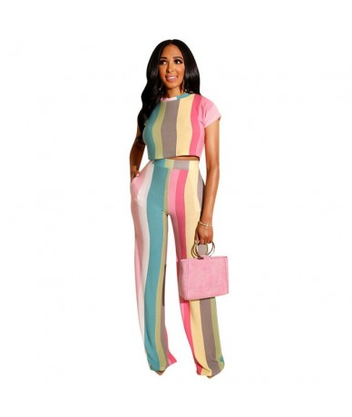 Color Striped Two Piece Set Women o-neck Short Sleeve T-Shirt Crop Top + Wide Leg Pants Outfits Summer Casual Sports Tracksu...