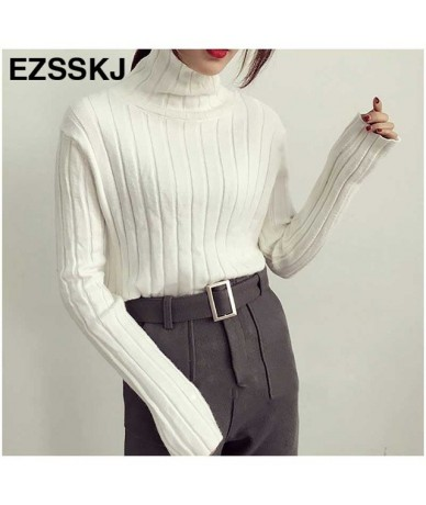 Sweater 2019 Autumn winter Women Casual Solid Color Loose Long Sleeve Turtleneck Warmth Pullovers Sweater flare sleeve high ...