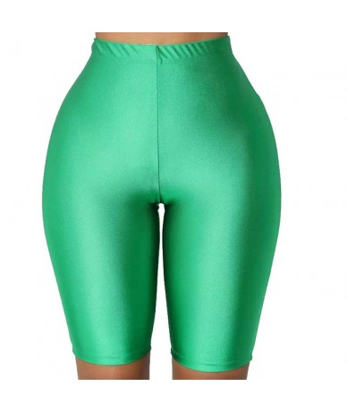 Women Sports Shorts Slim Fit Fluorescent Color High Waist Fitness Pants for Cycling JS26 - Green - 5P111182772065-5