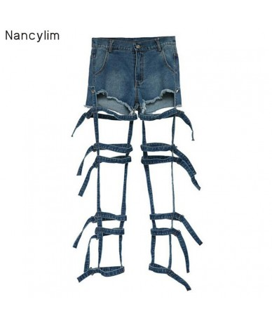 European and American New Fashion Personality Fashion Tie Hollow Wash Jeans Removable Two-wear Shorts Summer Streetwear Jean...