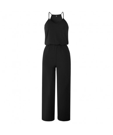 Fashion 2019 Summer V Neck Women Sexy Jumpsuits Solid Backless Loose Casual Romper Office Lady Playsuit Straight Leg Jumpsui...